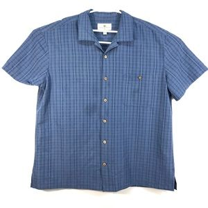 """Island Shores Hawaiian Shirt Men's 2XL blue """"D"""""""